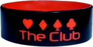 black with red text 1 inch silicone wristbands
