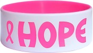 white plus pink text silicone wristbands in 1 inch size