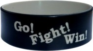 "black with silver colored text 1"" silicone wristband"