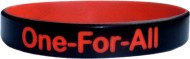 black with red colored  text custom silicone wristband