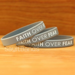 Faith Over Fear Wristband Bracelets stack