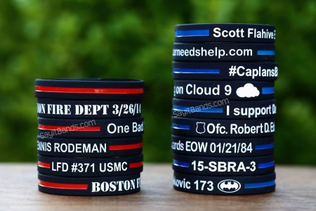 Custom Thin Blue Line Wristbands and Thin Red Line Bracelets